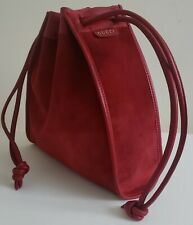 Gucci Red Suede Drawstring Bag