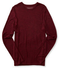 NEW  Men's Aeropostale Long Sleeve Marled Crew-Neck T-Shirt Red Medium