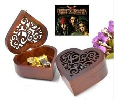 {Pirates of Caribbean - He's A Pirate} Heart Carving Wood Wind Up Music Box