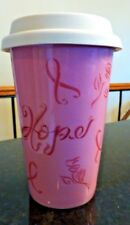 Pink ribbon travel mug Longaberger Hope - with lid - Cancer awareness. -J