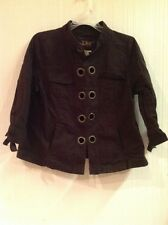 LAL Live a Little Jacket Dark Brown Metal Eyelet Detail Sz PL Petite Large