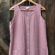 Garnet Hill Maxi Dress Size 12 Long Plaid Red Check Farm Country Sleeveless