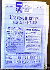 Couture broderie Super Patron Prima N°9.94 Veste à Frange Septembre 1994