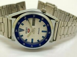 seiko 5 automatic men steel silver dial day date 17jewel vintage watch run order