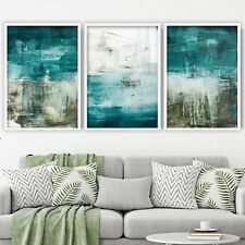 Set of 3- Abstract Blue, Teal & White Art Prints from Original Textured Painting