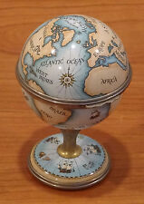 """Halcyon Days Enamel Clock Globe On Stand 3 5/8"""" Tall Mint Condition"""
