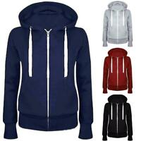 Women Solid Zip Up Hoodies Sweatshirt Hooded Long Sleeve Coat Tops DH