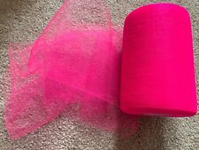 5m of 150mm Wide Nylon Shocking Pink Tulle Netting Fabric Wedding/Tutu