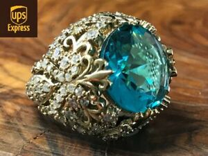 925 Sterling Silver Handmade Authentic Turquoise Turkish Ladies Ring Size 5-10