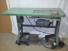 Vintage Singer Industrial Sewing Machine K-Leg Table with 3 phase motor