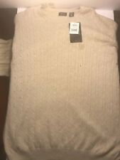 NEW Mens Size Lg IZOD 100% COTTON Cable Knit Crew-Neck Sweater Rock Heather $70