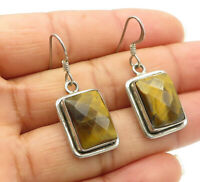 925 Sterling Silver - Vintage Faceted Tiger's Eye Square Dangle Earrings - E7387
