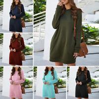Womens Plain Sweatshirt Long Sleeve Casual Baggy Pullover Tops Jumper Mini Dress