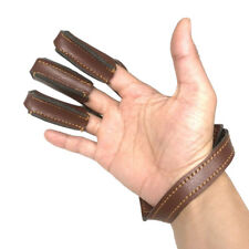 Leather 3 Finger Archery Glove Outdoor Hunting Finger Tab Guard Protector