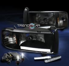 1994-2001 DODGE RAM TRUCK LED BAR BLACK CRYSTAL HEAD LIGHTS+DRL+6000K HID CORNER