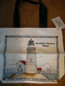 """NEW WITH TAG -  100% Cotton  LIGHTHOUSE Tote Bag  with """"BOOTHBAY HARBOR, MAINE"""""""