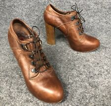 Chloe Women 37.5 EUR/US 7.5 Brown Leather Pumps Lace Up Booties Shoes