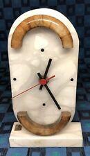 Ancienne Horloge À Posé Art Déco En Albâtre Santa Rita S.L. Made In Spain
