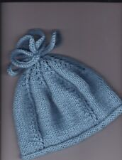 "6-12 Mths  18""/20"" Hand Knitted  Hat for Baby~ Light Blue Aran weight yarn"