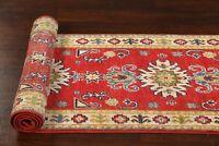Geometric Red/Ivory 6 ft. Kazak Pakistan Hand-Knotted Wool Runner Rug 2x6 ft.