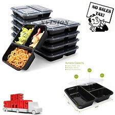 7 Meal Prep Containers 3 Compartment Food Storage Reusable Microwavable Plastic
