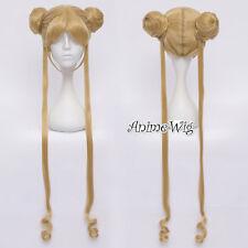 Anime for Sailor Moon Tsukino Usagi Flaxen Long Wavy Women Buns Cosplay Wig+Cap