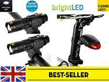 two front zoom alloy + rear 2 led solar rechargeable bike lights set - cycling