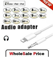 For iPhone 7 8 Plus X XR 11 12 Pro 8 Pin to 3.5mm AUX Audio Car Adapter Cord Lot