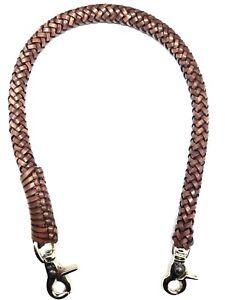 Biker chain braided 8 strands leather Heavy Duty Trucker style wallets made USA