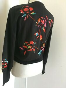 Shanghai Tang Black Cardigan with Bright Silk Flower Embroidery size M