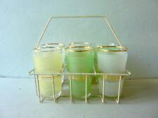 6 grands verres, décor granité avec leur panier vintage des années 50-60