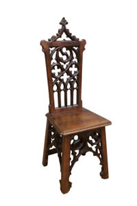 Attractive French Gothic Side or Occasional Chair, Walnut, 19th Century