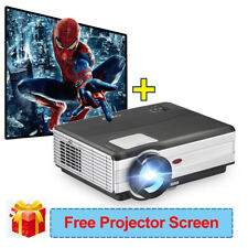 4500LM LED Home Theater Projector 1080P HD Video HDMI USB Bundle Screen 100''