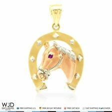 """14k Solid Tri-Color Gold Red Ruby Eye Horse Shoe Lucky Charm 3D Pendant 1.4"""""""