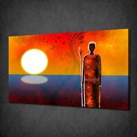 ABSTRACT AFRICAN WOMAN SUNSET MODERN CANVAS PRINT MANY SIZES FREE UK P&P AF031