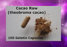 Cocoa Raw (theobroma cacao ) 100 Gelatin Caps Capsules Cacao Pure Peru