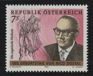 Austria 1995 #1687 Nico Dostal (b. 1895), Operetta Composer - MNH