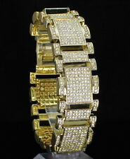 Mens Iced Out Bracelet 14k Gold Plated Simulated Diamonds Hip Hop