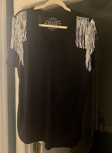 Crazy Train Western wear Silver Sequin Black V-Neck Tee XL *NWT*