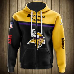 MINNESOTA VIKINGS Hoodie Hooded Pullover sizes S-5XL Football Team Logo Vikings