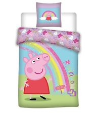 Kids Official Peppa Pig Rainbow Single Duvet Cover Set