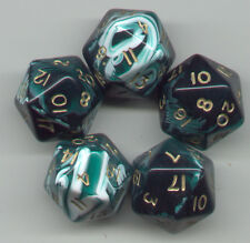 RPG Dice Set of 5 D20 - Marble Green
