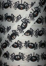 "5 yards 7.8"" Halloween Charlies Spooky Spider Web Grosgrain Ribbon"