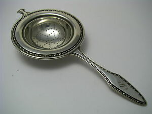 WALLACE STERLING SILVER TEA STRAINER LEMON SIFTER SPOON by Wallace c1900s Mono S