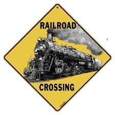 "Railroad Crossing Metal Sign 16 1/2"" x 16 1/2"" Diamond shape made in USA #433"