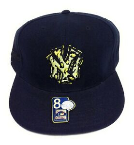 Mens New York NY Yankees Mitchell & Ness Black Yellow Baseball Fitted Hat Cap