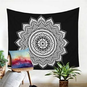 Black Mandala Boho Floral Wall Tapestry Hanging Throw Cover Home Room Decoration