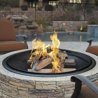 Sun Joe 35-Inch Cast Stone Base Fire Pit | w/Dome Screen | Poker | Natural Stone
