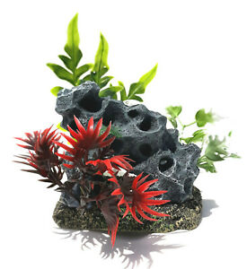 """Volcanic Rock Tunnel with Plastic Plants on Resin Base 4"""" x 3"""" x 5"""" Tall New"""