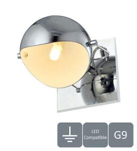 Single Wall Light, 1xG9 Bulb (28W Max), Adjustable Head, Polished Chrome Finish
